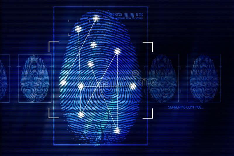 Τεχνολογία ανίχνευσης δακτυλικών αποτυπωμάτων διανυσματική απεικόνιση