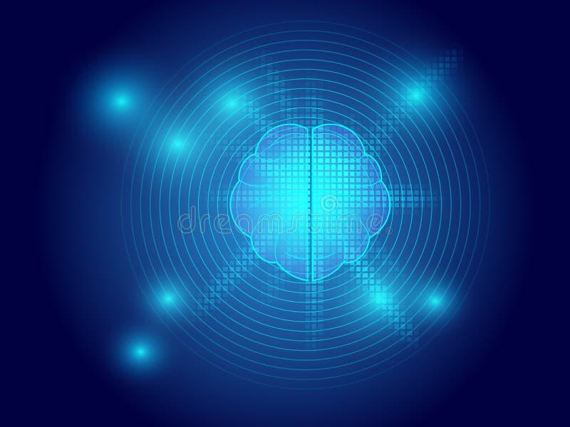 Τεχνολογία εγκεφάλου στο μπλε αφηρημένο υπόβαθρο απεικόνιση αποθεμάτων