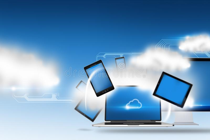 Τεχνολογία και μέσα σύννεφων διανυσματική απεικόνιση
