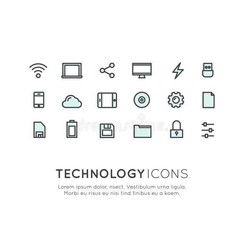 Τεχνολογία, κινητά και εργαλεία Διαδικτύου, συσκευές, διαχείριση δικτύου, δικτύωση και σύννεφο που υπολογίζουν, σύμβολα Ιστού απεικόνιση αποθεμάτων