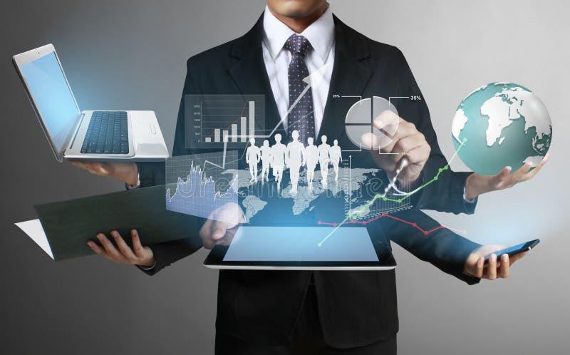 Τεχνολογία στα χέρια των επιχειρηματιών στοκ εικόνα με δικαίωμα ελεύθερης χρήσης