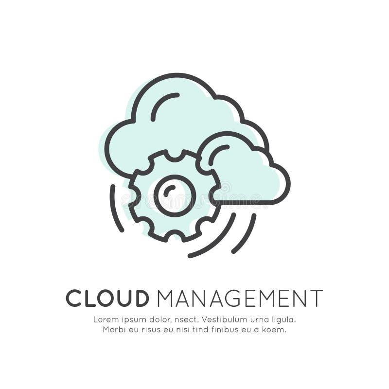 Τεχνολογία υπολογισμού σύννεφων, φιλοξενία, διαχείριση σύννεφων, ασφάλεια δεδομένων διανυσματική απεικόνιση