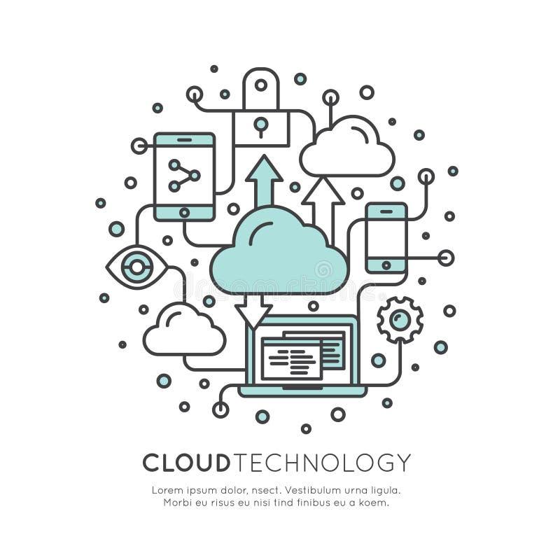 Τεχνολογία υπολογισμού σύννεφων, φιλοξενία, διαχείριση σύννεφων ελεύθερη απεικόνιση δικαιώματος