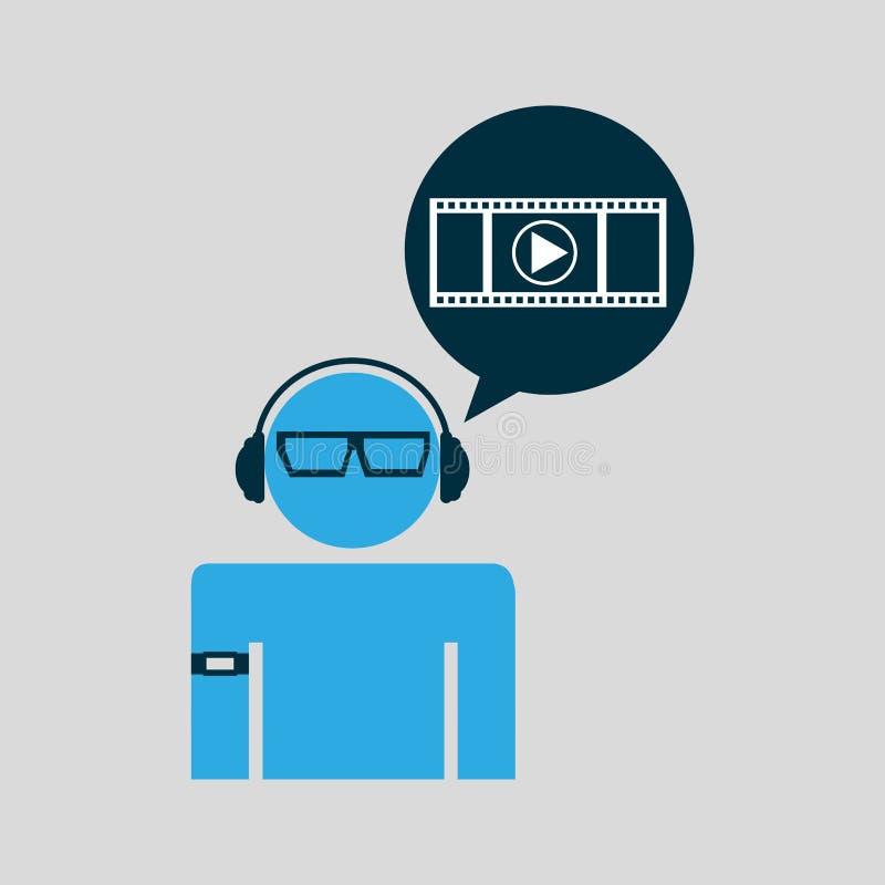 Τεχνολογία video ατόμων φορετή διανυσματική απεικόνιση