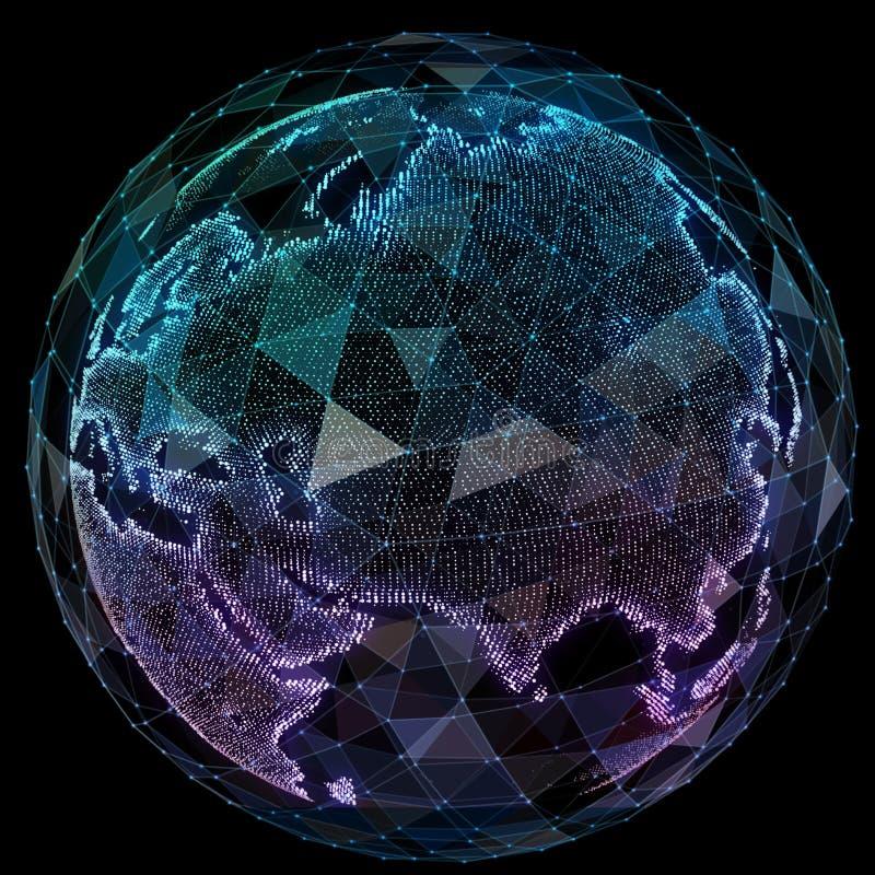 Τεχνολογίες Διαδικτύου παγκόσμιων δικτύων Ψηφιακός παγκόσμιος χάρτης διανυσματική απεικόνιση