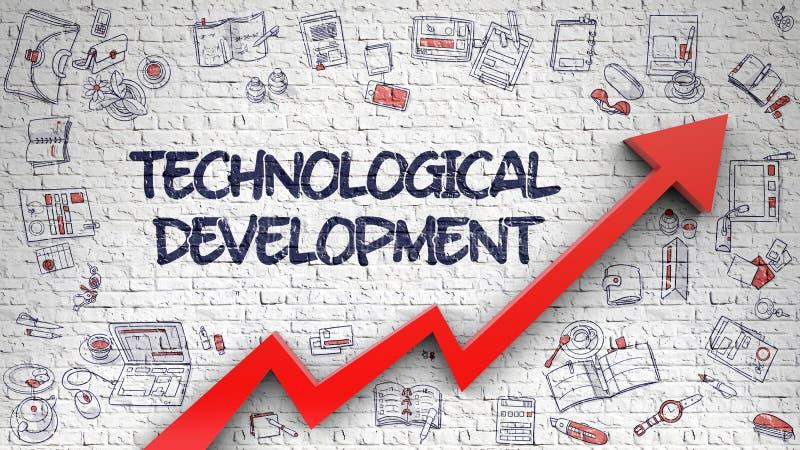 Τεχνολογική ανάπτυξη που επισύρεται την προσοχή σε άσπρο Brickwall τρισδιάστατος απεικόνιση αποθεμάτων