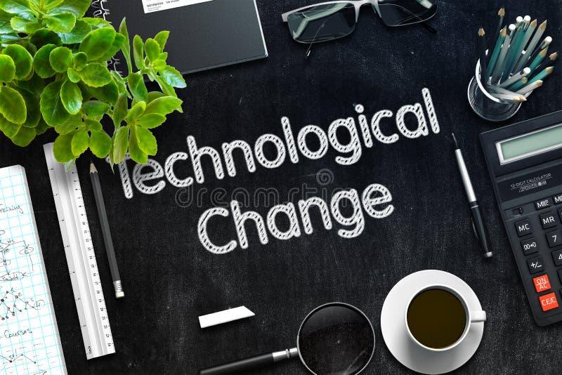 Τεχνολογική αλλαγή στο μαύρο πίνακα κιμωλίας τρισδιάστατη απόδοση στοκ φωτογραφία