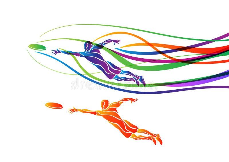 Τελευταία αθλητικών πετώντας δίσκων σκιαγραφία χρώματος φορέων δημιουργική απεικόνιση αποθεμάτων
