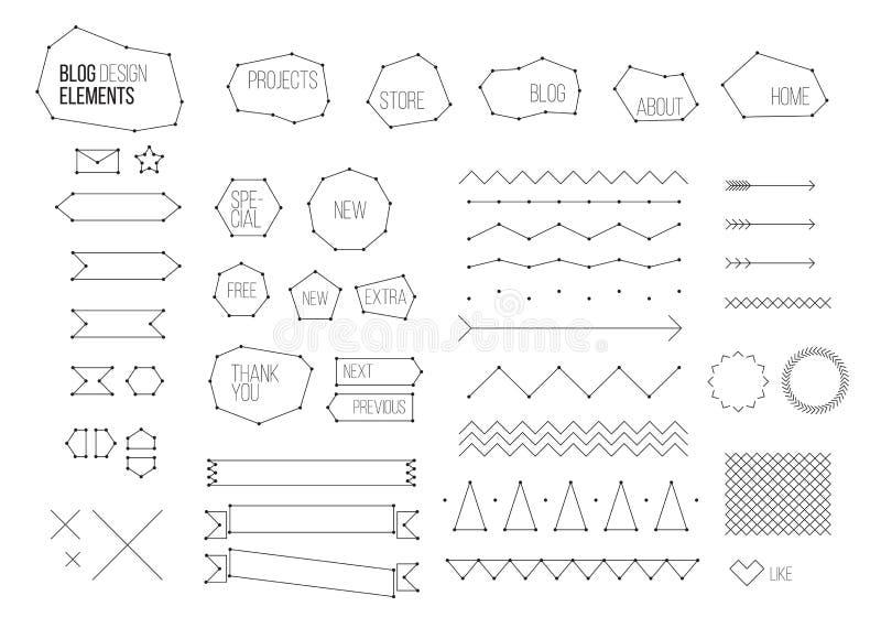 Τελευταία εξάρτηση στοιχείων σχεδίου blog απεικόνιση αποθεμάτων
