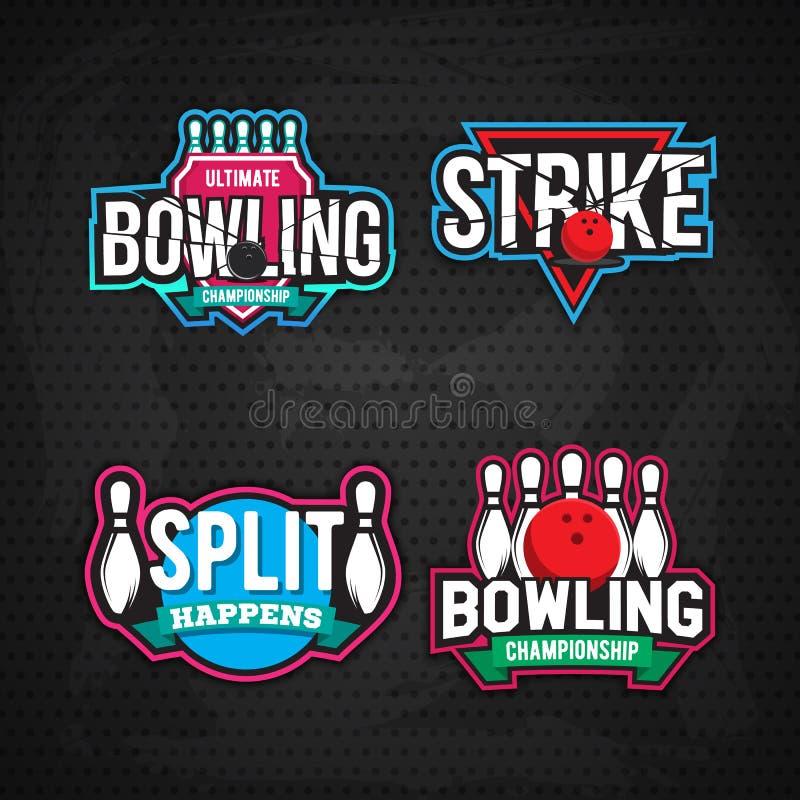 Τελευταίο σχέδιο λογότυπων πρωταθλήματος μπόουλινγκ διανυσματική απεικόνιση