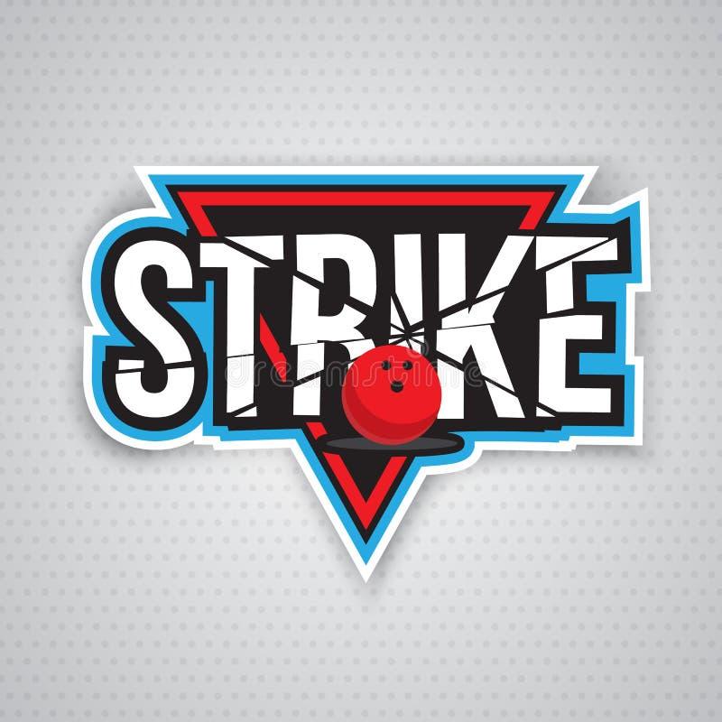Τελευταίο σχέδιο λογότυπων πρωταθλήματος μπόουλινγκ απεικόνιση αποθεμάτων