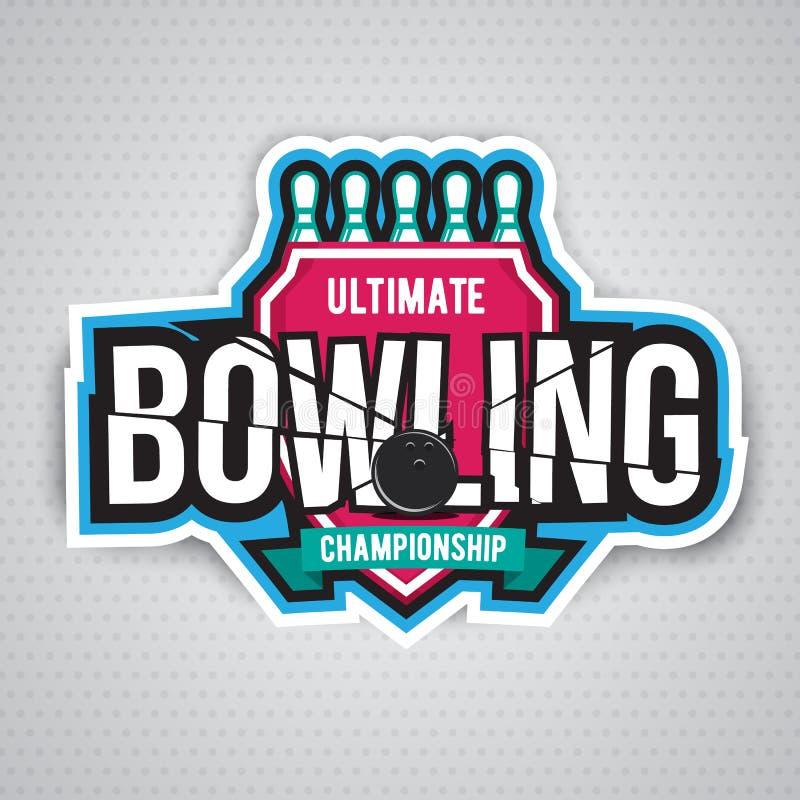 Τελευταίο σχέδιο λογότυπων chanpionship μπόουλινγκ διανυσματική απεικόνιση
