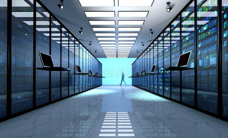 Τελικό όργανο ελέγχου στο δωμάτιο κεντρικών υπολογιστών με τα ράφια κεντρικών υπολογιστών στο datacenter ελεύθερη απεικόνιση δικαιώματος