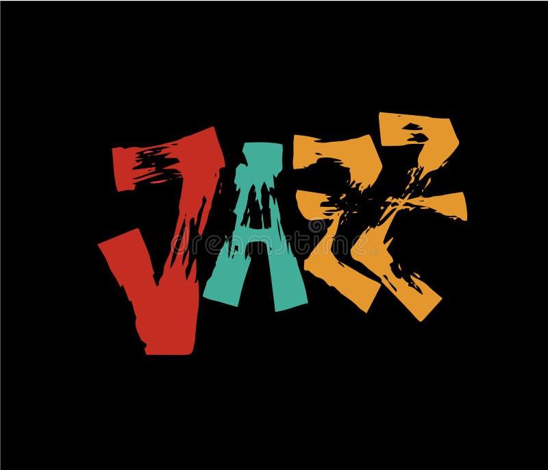 τζαζ Εγγραφή μανδρών βουρτσών Διανυσματική επιγραφή μελανιού Σύγχρονο ύφος καλλιγραφίας αφίσα μουσικής Τελειοποιήστε για τα γεγον απεικόνιση αποθεμάτων