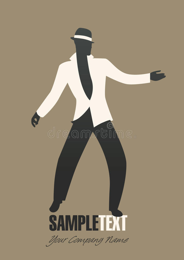 Τζαζ χορού σκιαγραφιών ατόμων ή λατινική μουσική διανυσματική απεικόνιση