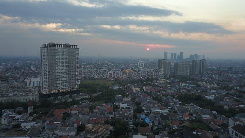 ΤΖΑΚΆΡΤΑ, Ινδονησία 28 Δεκ 2018: Αεροφωτογραφία της Κεντρικής Επιχειρηματικής Περιφέρειας Τζακάρτα από μη επανδρωμένο αεροσκάφος  στοκ φωτογραφίες με δικαίωμα ελεύθερης χρήσης