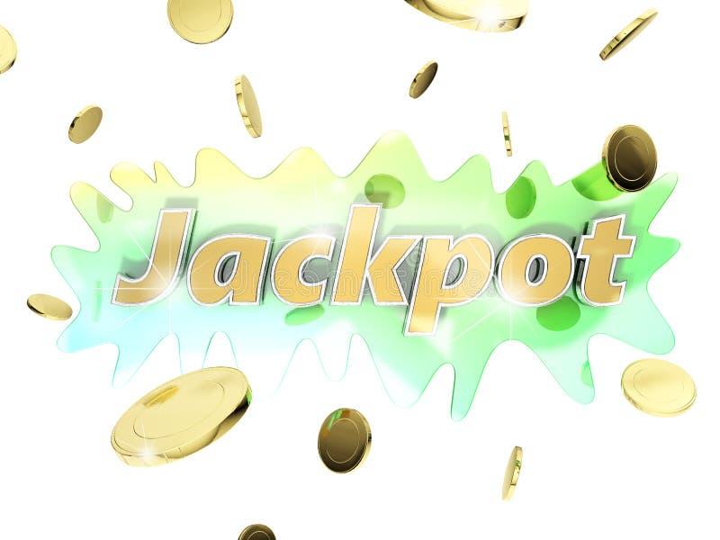 Τζακ ποτ με τα χρυσά νομίσματα απεικόνιση αποθεμάτων