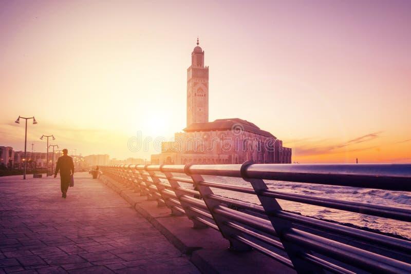 Τζαμί Χασάν Β' από το πεζοδρόμιο - Καζαμπλάνκα - Μαρόκο στοκ φωτογραφία με δικαίωμα ελεύθερης χρήσης