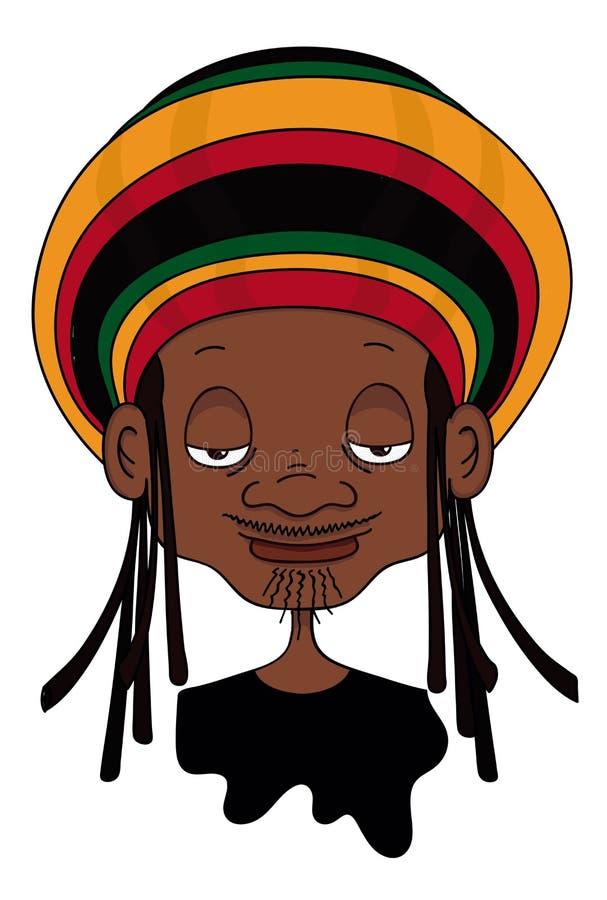 Τζαμαϊκανά χρώματα Hoodie που φορούν την απεικόνιση Rastaman στοκ εικόνα με δικαίωμα ελεύθερης χρήσης