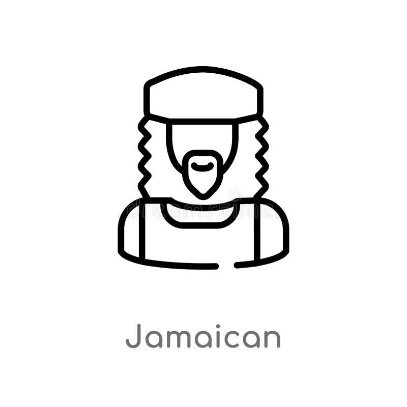 τζαμαϊκανό διανυσματικό εικονίδιο περιλήψεων απομονωμένη μαύρη απλή απεικόνιση στοιχείων γραμμών από την έννοια ενδιάμεσων με τον απεικόνιση αποθεμάτων