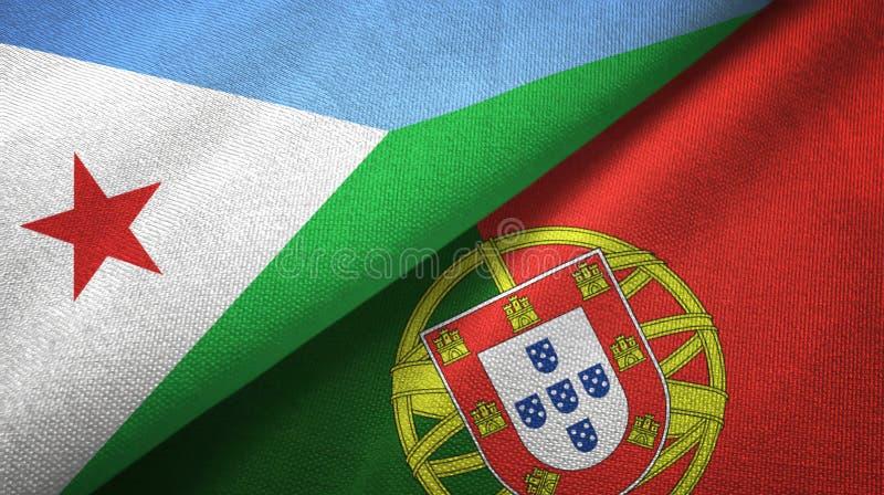 Τζιμπουτί και Πορτογαλία δύο υφαντικό ύφασμα σημαιών, σύσταση υφάσματος απεικόνιση αποθεμάτων