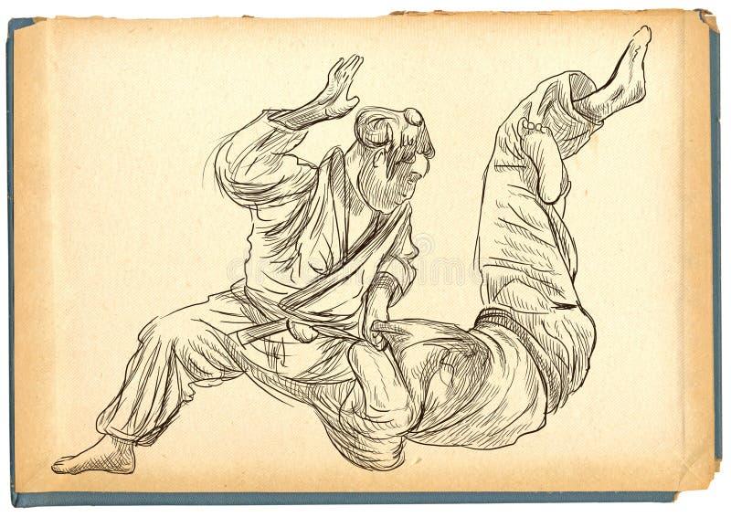 Τζούντο - ένα σύνολο - μεγέθους συρμένη χέρι απεικόνιση ελεύθερη απεικόνιση δικαιώματος
