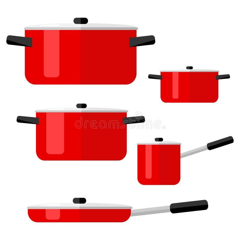 Τηγάνια, σύνολο δοχείων και τηγανιών kitchenware απεικόνιση αποθεμάτων