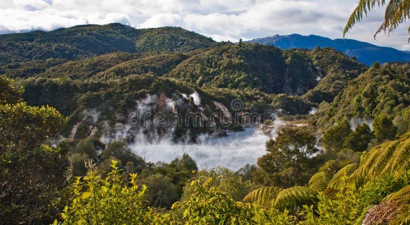 Τηγάνισμα της παν λίμνης στην ηφαιστειακή κοιλάδα Waimangu στη Νέα Ζηλανδία στοκ εικόνες