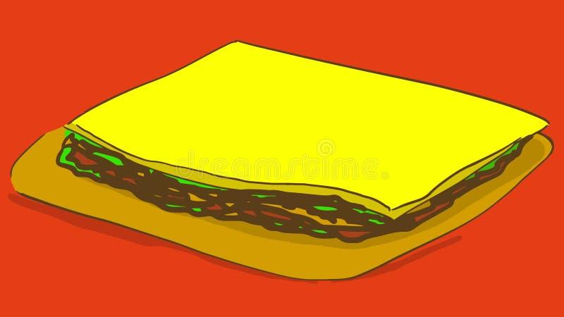 Τηγανίτα κινούμενων σχεδίων με το γέμισμα και το τυρί snack διανυσματική απεικόνιση