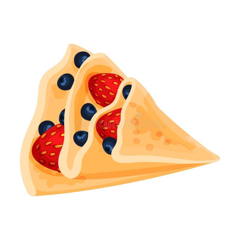 Τηγανίτα με μορφή ενός τριγώνου με μια πλήρωση των μούρων E διανυσματική απεικόνιση