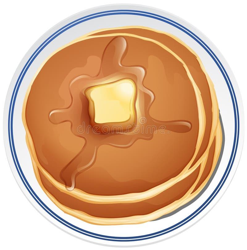 Τηγανίτα με το βούτυρο στο πιάτο διανυσματική απεικόνιση