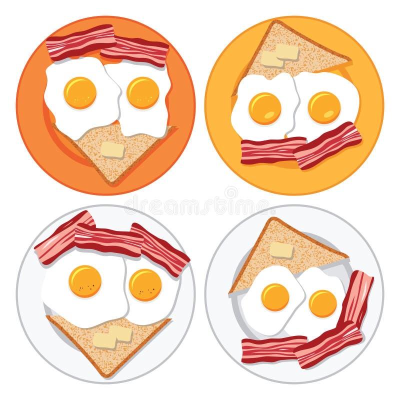 Τηγανισμένα αυγά, μπέϊκον, ψωμί και βούτυρο ελεύθερη απεικόνιση δικαιώματος