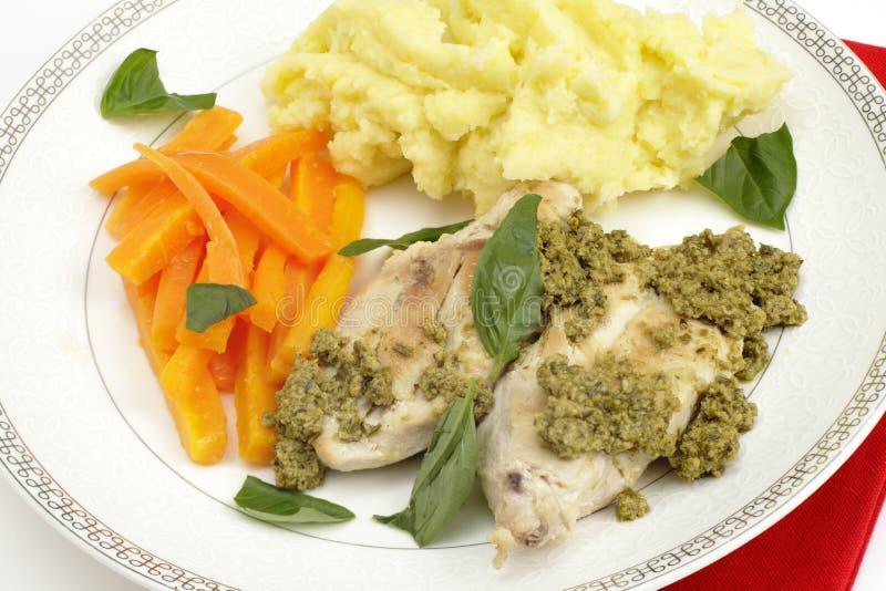 Τηγανισμένα τηγάνι κοτόπουλο και pesto στοκ εικόνα με δικαίωμα ελεύθερης χρήσης