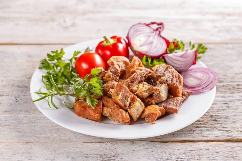 Τηγανισμένα υπολείμματα ζωϊκού λίπους χοιρινού κρέατος στοκ εικόνες με δικαίωμα ελεύθερης χρήσης