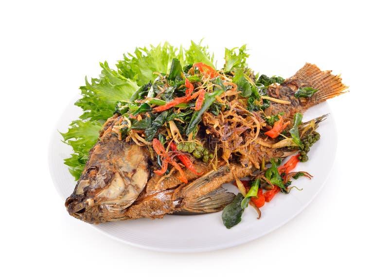 Τηγανισμένα ψάρια με τα χορτάρια Στο άσπρο πιάτο στοκ εικόνες