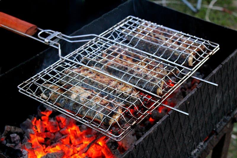 Τηγανισμένα ψάρια με τους άνθρακες υπαίθρια στοκ εικόνες