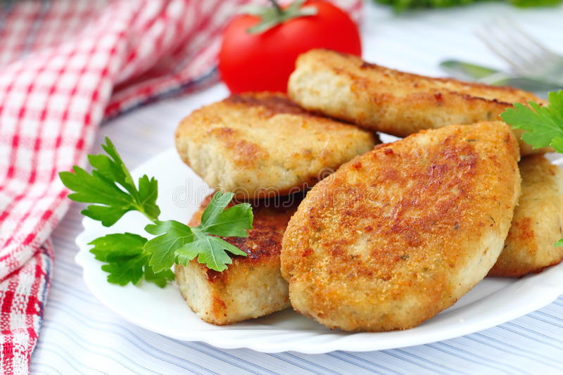 Τηγανισμένα cutlets με τα φρέσκα λαχανικά στοκ εικόνα