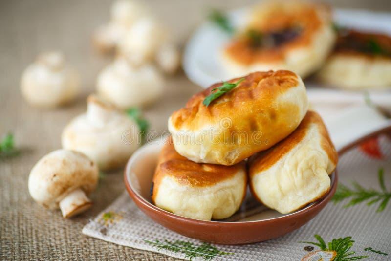 τηγανισμένα patties με τα μανιτάρια στοκ φωτογραφία