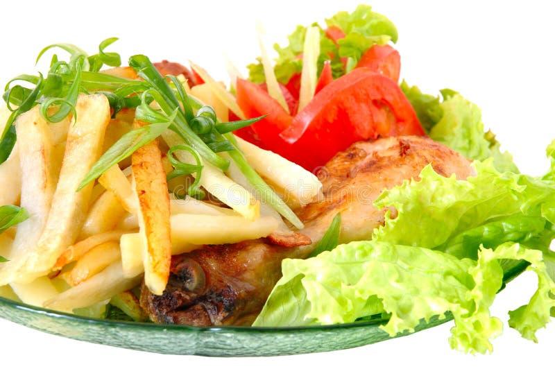 Τηγανισμένες κοτόπουλο και πατάτα στοκ εικόνα με δικαίωμα ελεύθερης χρήσης