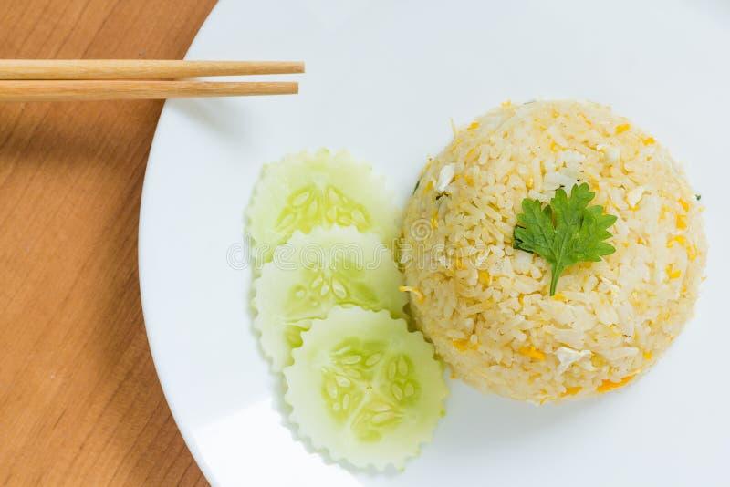 Τηγανισμένη αυγό τοπ άποψη ρυζιού στοκ εικόνα