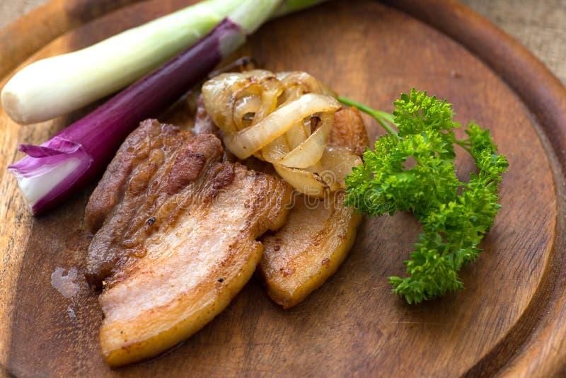 Τηγανισμένη ράβδωση του άπαχου κρέατος & x28 fatback& x29  στοκ φωτογραφία