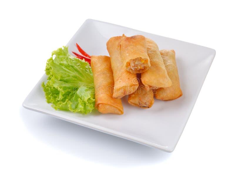 Τηγανισμένος κινεζικός ρόλος άνοιξη στο άσπρο πιάτο για το ορεκτικό στοκ εικόνα