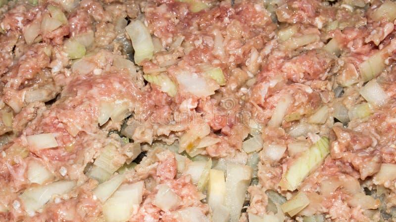 Τηγανισμένος κομματιασμένος με τα κρεμμύδια στοκ φωτογραφία