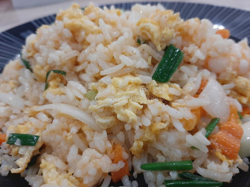 Τηγανισμένο κινηματογράφηση σε πρώτο πλάνο ρύζι με το γεύμα αυγών στοκ φωτογραφία με δικαίωμα ελεύθερης χρήσης