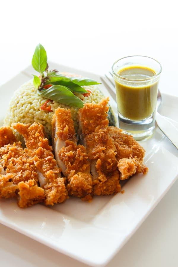Τηγανισμένο ρύζι με το πράσινο κάρρυ στοκ εικόνες με δικαίωμα ελεύθερης χρήσης