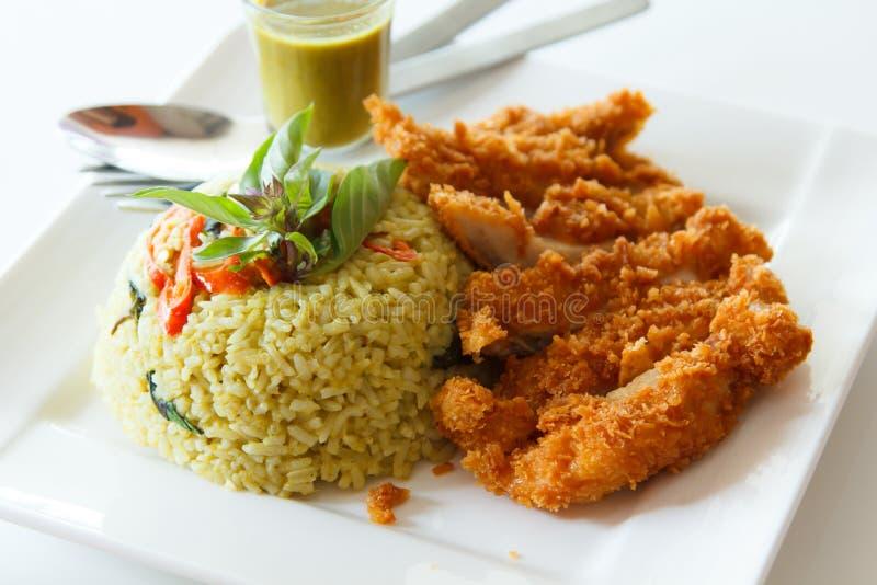 Τηγανισμένο ρύζι με το πράσινο κάρρυ στοκ φωτογραφίες με δικαίωμα ελεύθερης χρήσης