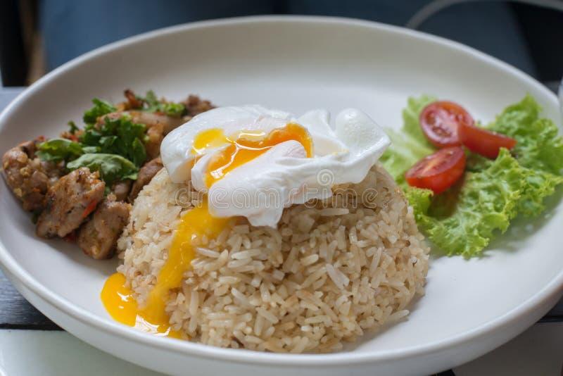 Τηγανισμένο ρύζι με το χοιρινό κρέας και τα αυγά στοκ εικόνες με δικαίωμα ελεύθερης χρήσης