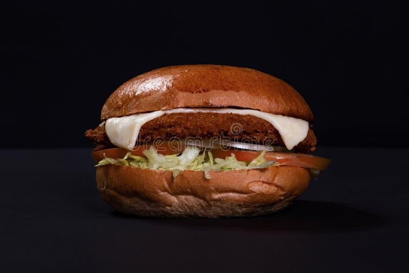 Τηγανισμένο χάμπουργκερ κοτόπουλου με το τυρί στοκ εικόνες