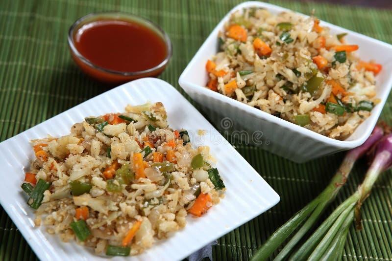 Τηγανισμένο Gobi ρύζι, τηγανισμένο κουνουπίδι ρύζι, τηγανισμένο Muttaikose ρύζι στοκ εικόνες