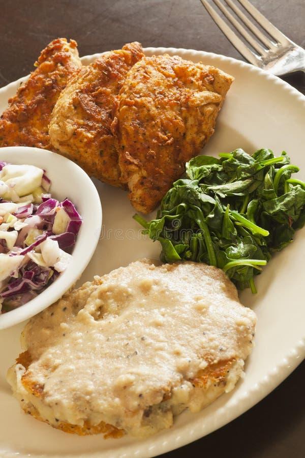 Τηγανισμένο Vegan υποκατάστατο κοτόπουλου που εξυπηρετείται με το slaw, πολτοποιηίδες πατάτες στοκ φωτογραφία με δικαίωμα ελεύθερης χρήσης
